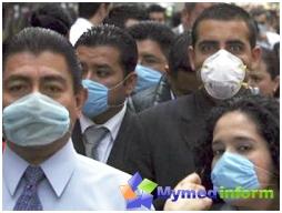 gente en la calle con máscaras contra la gripe porcina