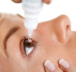 The use of eye drops