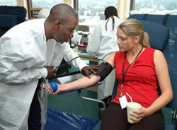 The procedure of blood donation