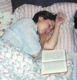 It will help to fall asleep reading the book thinking not strained