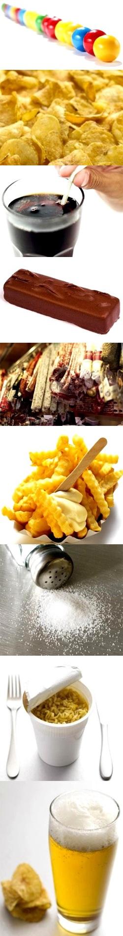 Najbardziej szkodliwe produkty: cukierek do żucia, chipsy, napoje gazowane, batony, wędliny i mięso, majonez, sól, makaron, alkohol