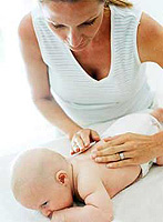 First aid to the child at the turn